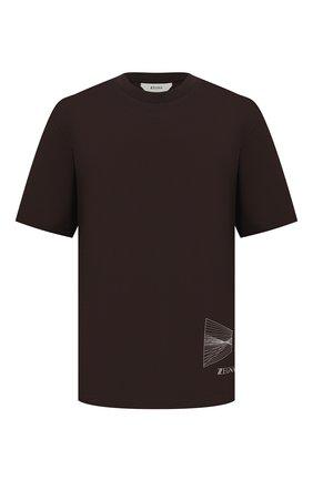 Мужская хлопковая футболка Z ZEGNA темно-коричневого цвета, арт. VY372/ZZ651D | Фото 1