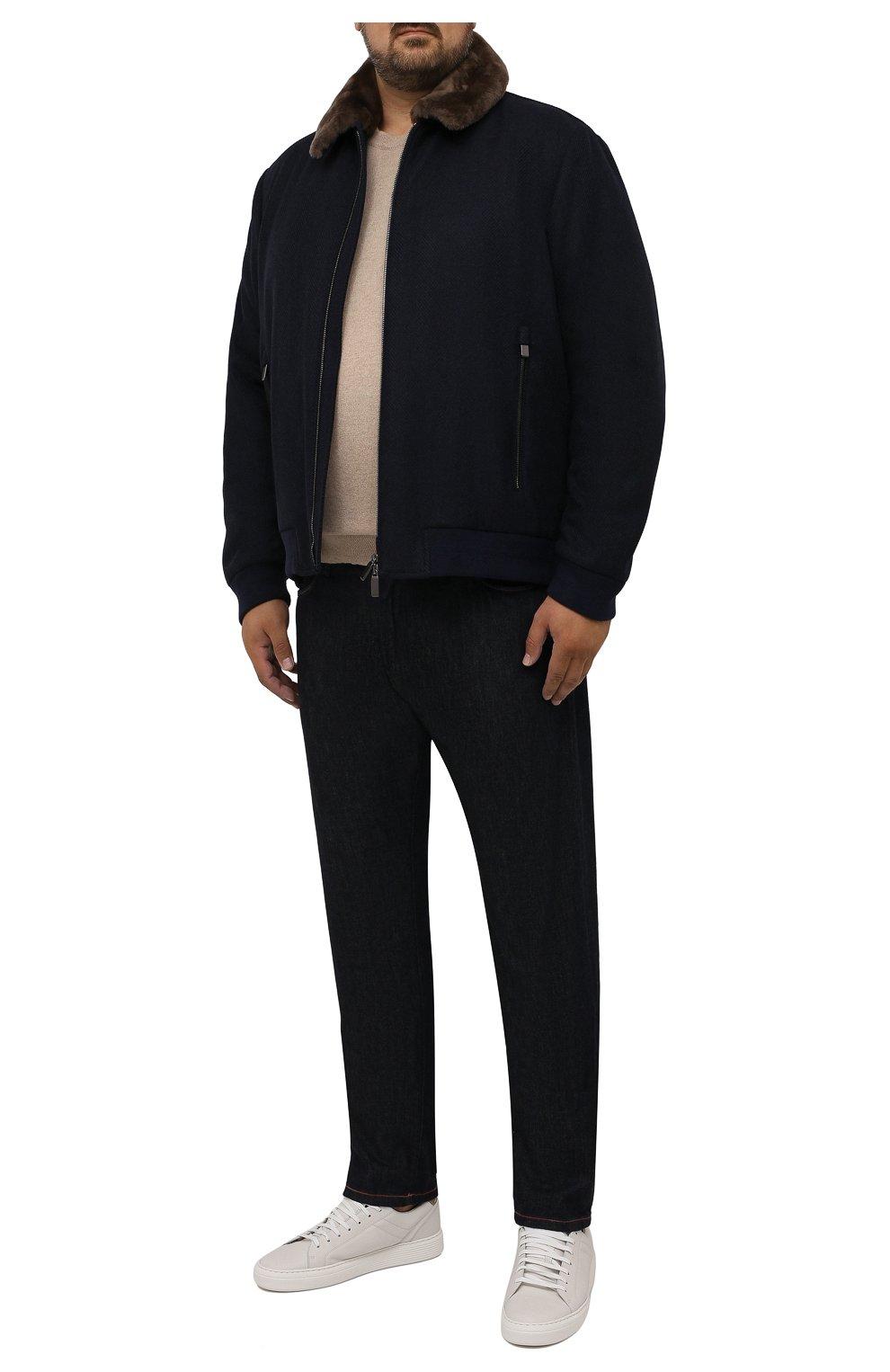 Мужской бомбер с меховой отделкой CANALI темно-синего цвета, арт. 040656P/SG02120   Фото 2 (Кросс-КТ: Куртка; Big sizes: Big Sizes; Мужское Кросс-КТ: шерсть и кашемир; Материал внешний: Шерсть; Рукава: Длинные; Принт: Без принта; Стили: Классический; Материал подклада: Синтетический материал; Длина (верхняя одежда): Короткие)