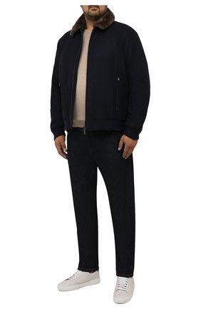 Мужской бомбер с меховой отделкой CANALI темно-синего цвета, арт. 040656P/SG02120 | Фото 2 (Материал внешний: Шерсть; Материал подклада: Синтетический материал; Длина (верхняя одежда): Короткие; Рукава: Длинные; Кросс-КТ: Куртка; Мужское Кросс-КТ: шерсть и кашемир; Стили: Классический; Принт: Без принта; Big sizes: Big Sizes)