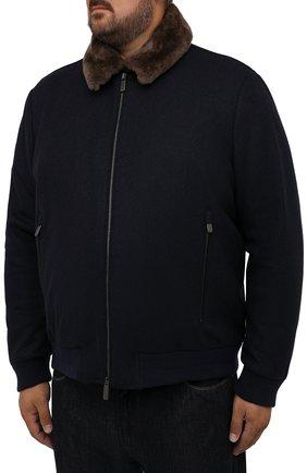 Мужской бомбер с меховой отделкой CANALI темно-синего цвета, арт. 040656P/SG02120   Фото 3 (Кросс-КТ: Куртка; Big sizes: Big Sizes; Мужское Кросс-КТ: шерсть и кашемир; Материал внешний: Шерсть; Рукава: Длинные; Принт: Без принта; Стили: Классический; Материал подклада: Синтетический материал; Длина (верхняя одежда): Короткие)