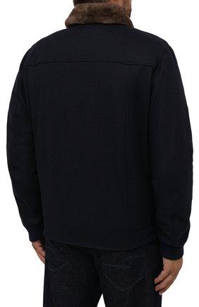 Мужской бомбер с меховой отделкой CANALI темно-синего цвета, арт. 040656P/SG02120   Фото 4 (Кросс-КТ: Куртка; Big sizes: Big Sizes; Мужское Кросс-КТ: шерсть и кашемир; Материал внешний: Шерсть; Рукава: Длинные; Принт: Без принта; Стили: Классический; Материал подклада: Синтетический материал; Длина (верхняя одежда): Короткие)