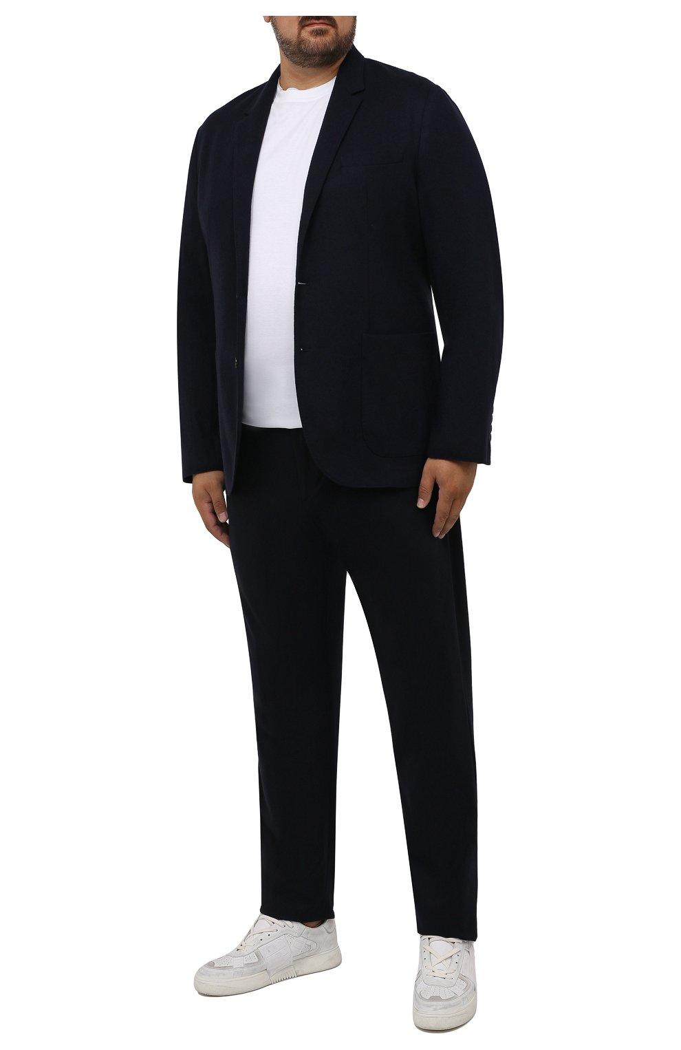 Мужские кашемировые брюки MARCO PESCAROLO темно-синего цвета, арт. CHIAIAM/ZIP+RIS/4442 | Фото 2 (Big sizes: Big Sizes; Материал внешний: Шерсть, Кашемир; Длина (брюки, джинсы): Стандартные; Случай: Повседневный; Стили: Кэжуэл)