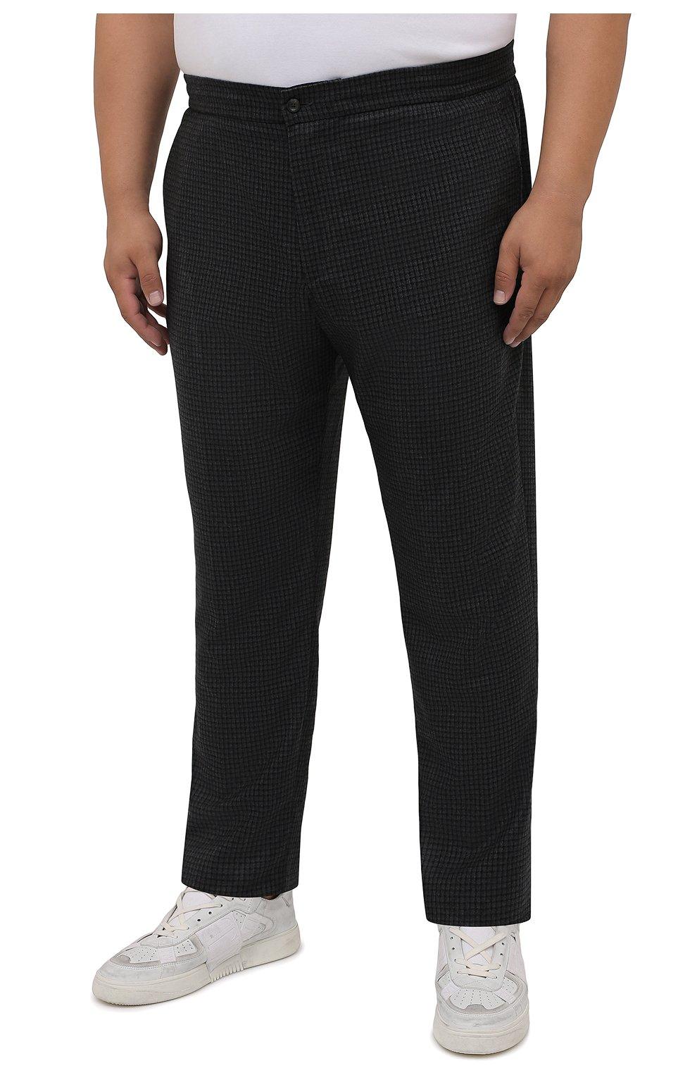 Мужские шерстяные брюки MARCO PESCAROLO темно-серого цвета, арт. CHIAIAM/ZIP+RIS/4426 | Фото 3 (Big sizes: Big Sizes; Материал внешний: Шерсть; Длина (брюки, джинсы): Стандартные; Случай: Повседневный; Стили: Кэжуэл)