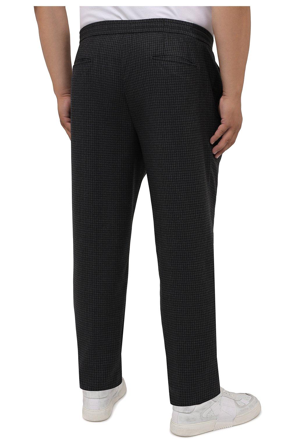Мужские шерстяные брюки MARCO PESCAROLO темно-серого цвета, арт. CHIAIAM/ZIP+RIS/4426 | Фото 4 (Big sizes: Big Sizes; Материал внешний: Шерсть; Длина (брюки, джинсы): Стандартные; Случай: Повседневный; Стили: Кэжуэл)