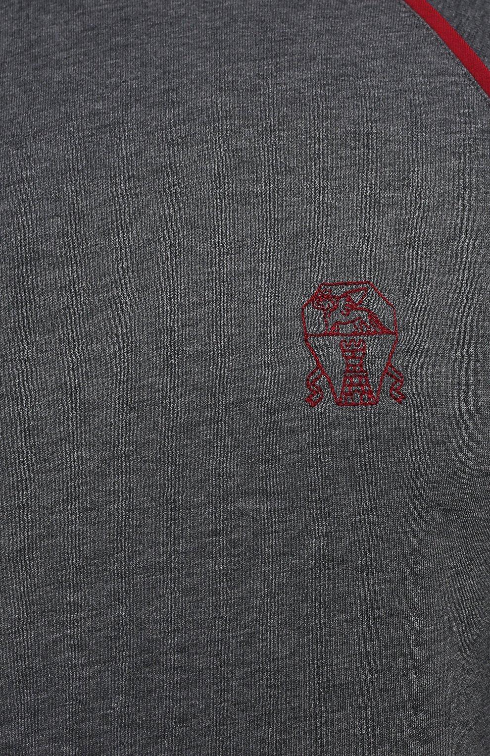 Мужской хлопковая толстовка BRUNELLO CUCINELLI темно-серого цвета, арт. M0T359276W   Фото 5 (Big sizes: Big Sizes; Рукава: Длинные; Мужское Кросс-КТ: Толстовка-одежда; Длина (для топов): Удлиненные; Материал внешний: Хлопок; Стили: Спорт-шик)