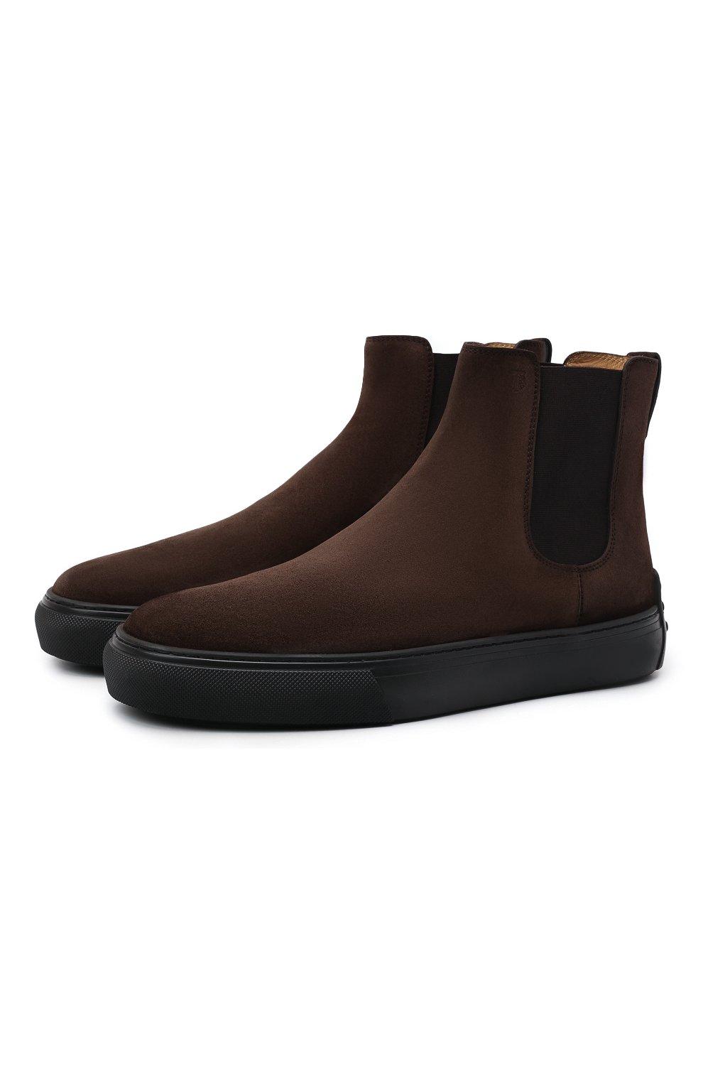 Мужские замшевые челси TOD'S темно-коричневого цвета, арт. XXM03E00P20RE0   Фото 1 (Материал внешний: Текстиль, Замша; Материал внутренний: Натуральная кожа; Подошва: Массивная; Мужское Кросс-КТ: Сапоги-обувь, Челси-обувь)