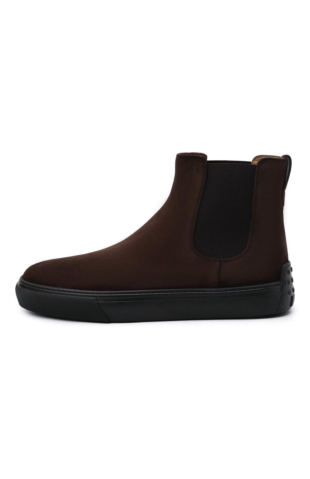 Мужские замшевые челси TOD'S темно-коричневого цвета, арт. XXM03E00P20RE0   Фото 3 (Материал внешний: Текстиль, Замша; Материал внутренний: Натуральная кожа; Подошва: Массивная; Мужское Кросс-КТ: Сапоги-обувь, Челси-обувь)