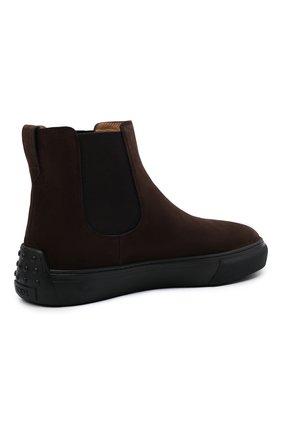 Мужские замшевые челси TOD'S темно-коричневого цвета, арт. XXM03E00P20RE0   Фото 4 (Материал внешний: Текстиль, Замша; Материал внутренний: Натуральная кожа; Подошва: Массивная; Мужское Кросс-КТ: Сапоги-обувь, Челси-обувь)
