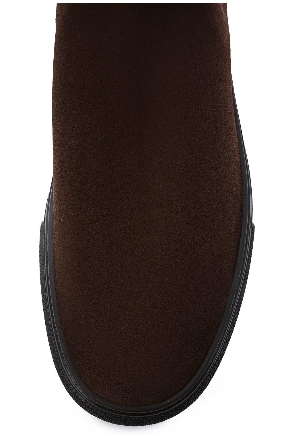 Мужские замшевые челси TOD'S темно-коричневого цвета, арт. XXM03E00P20RE0   Фото 5 (Материал внешний: Текстиль, Замша; Материал внутренний: Натуральная кожа; Подошва: Массивная; Мужское Кросс-КТ: Сапоги-обувь, Челси-обувь)