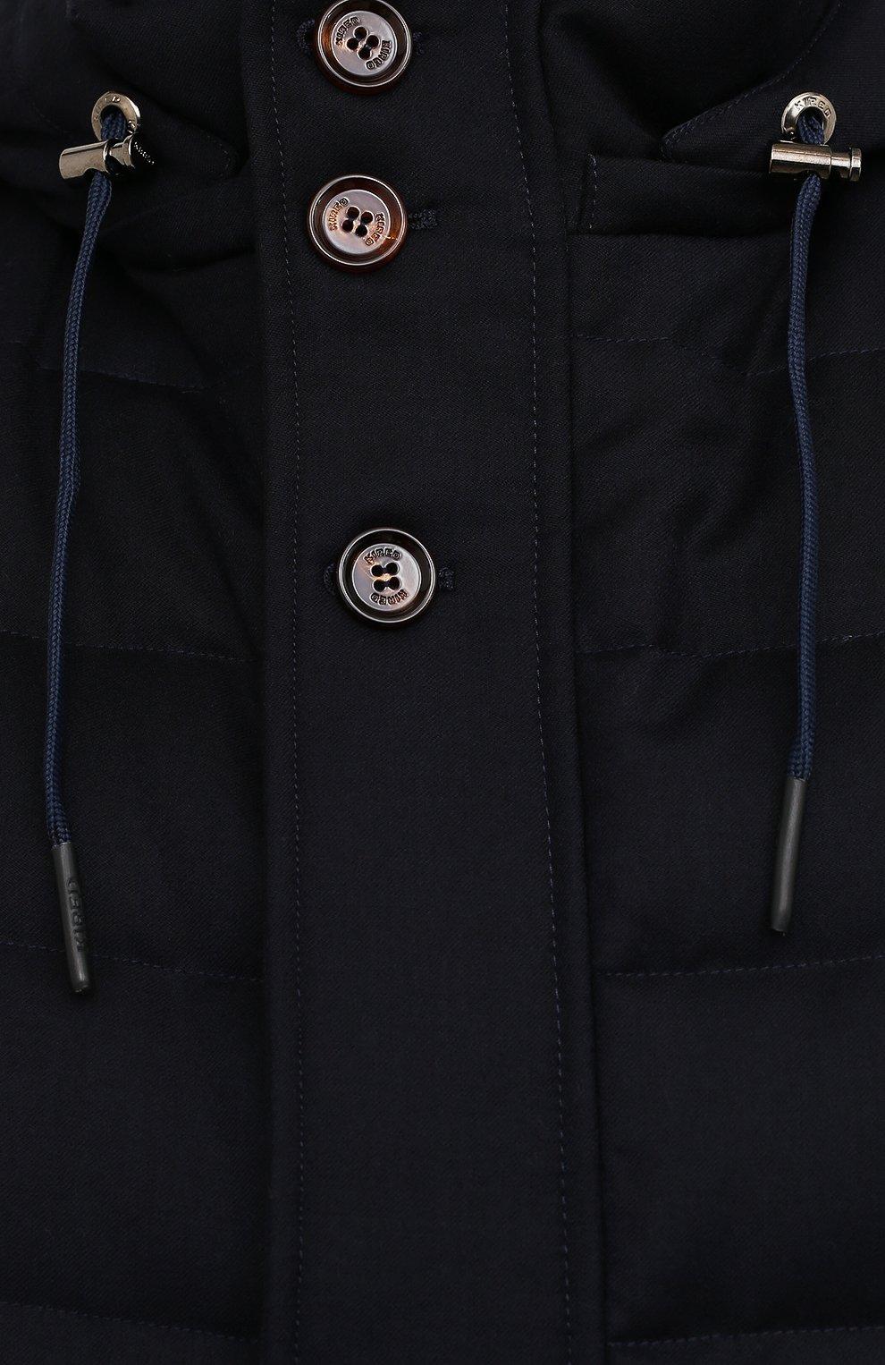 Мужской пуховый жилет KIRED темно-синего цвета, арт. WKISHBW7405009000/62-74   Фото 5 (Кросс-КТ: Куртка, Пуховик; Big sizes: Big Sizes; Материал внешний: Шерсть; Материал подклада: Синтетический материал; Длина (верхняя одежда): Короткие; Материал утеплителя: Пух и перо; Стили: Кэжуэл)
