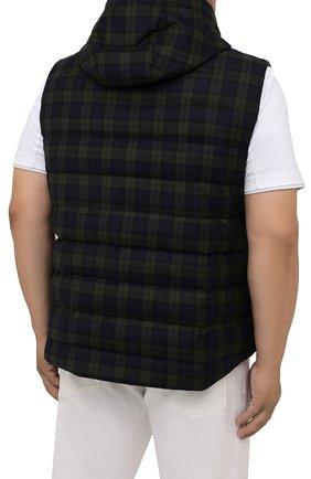 Мужской пуховый жилет KIRED темно-зеленого цвета, арт. WKISHBW7406502000/62-74   Фото 4 (Кросс-КТ: Куртка, Пуховик; Big sizes: Big Sizes; Материал внешний: Шерсть; Материал подклада: Синтетический материал; Длина (верхняя одежда): Короткие; Материал утеплителя: Пух и перо; Стили: Кэжуэл)
