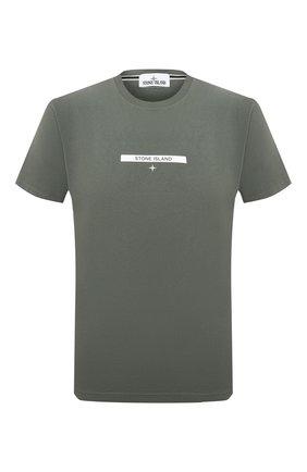 Мужская хлопковая футболка STONE ISLAND хаки цвета, арт. 75152NS84 | Фото 1