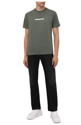 Мужская хлопковая футболка STONE ISLAND хаки цвета, арт. 75152NS84 | Фото 2