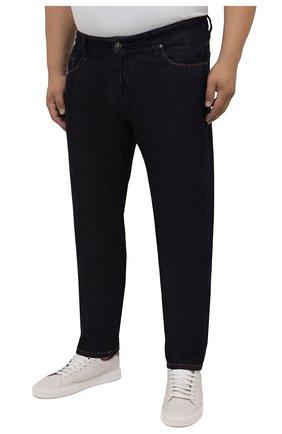 Мужские джинсы CORTIGIANI темно-синего цвета, арт. 213501/S409/0000/4950/60-70 | Фото 3 (Big sizes: Big Sizes; Силуэт М (брюки): Прямые; Кросс-КТ: Деним; Длина (брюки, джинсы): Стандартные; Материал внешний: Хлопок; Стили: Классический)