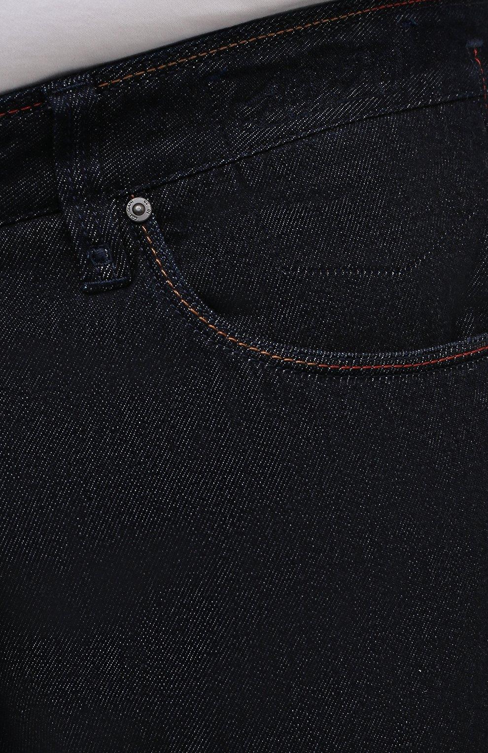 Мужские джинсы CORTIGIANI темно-синего цвета, арт. 213501/S409/0000/4950/60-70 | Фото 5 (Big sizes: Big Sizes; Силуэт М (брюки): Прямые; Кросс-КТ: Деним; Длина (брюки, джинсы): Стандартные; Материал внешний: Хлопок; Стили: Классический)