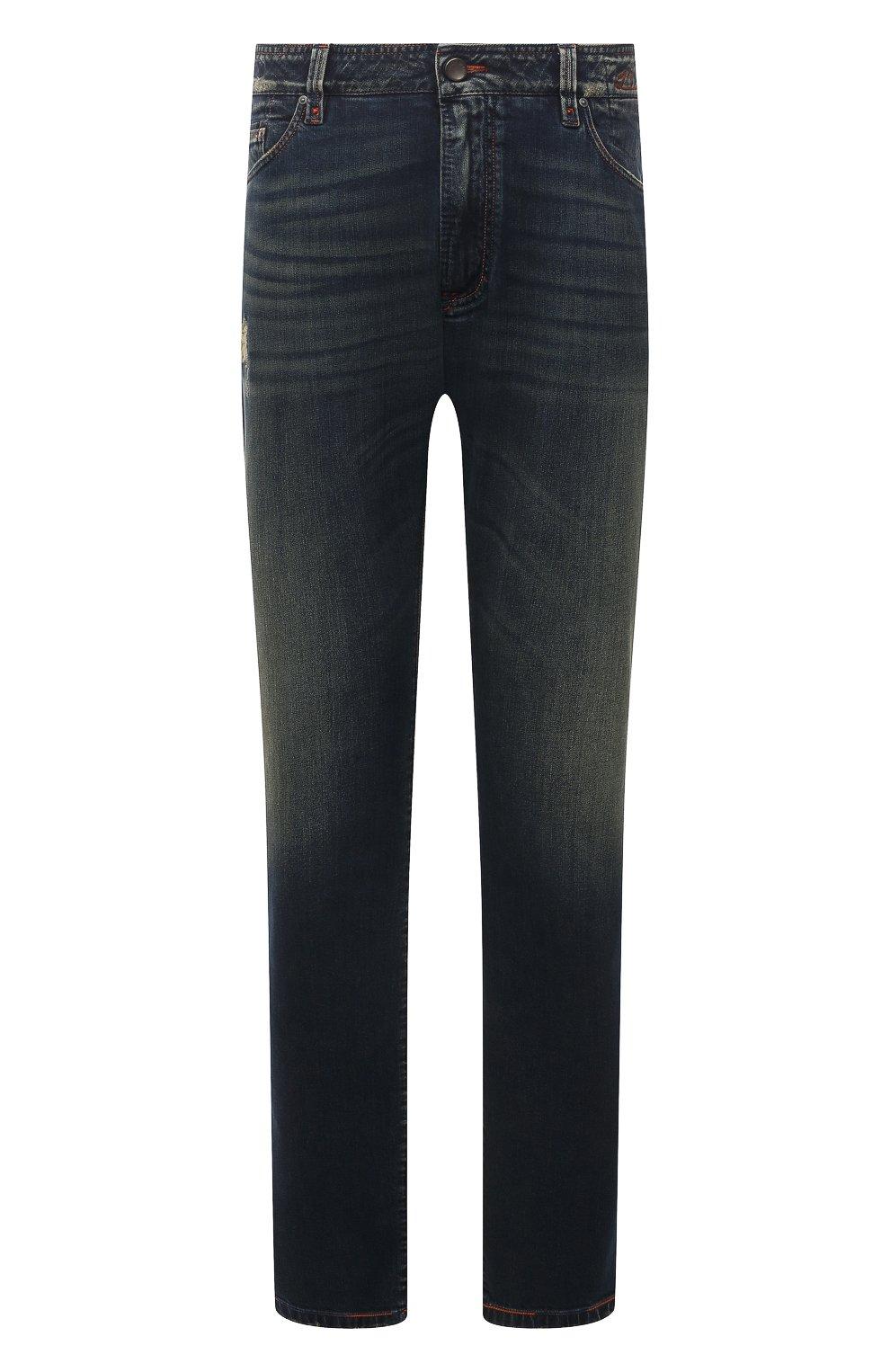 Мужские джинсы CORTIGIANI синего цвета, арт. 213532/S409/0000/3020/60-70   Фото 1 (Big sizes: Big Sizes; Силуэт М (брюки): Прямые; Кросс-КТ: Деним; Длина (брюки, джинсы): Стандартные; Материал внешний: Хлопок; Детали: Потертости; Стили: Кэжуэл)