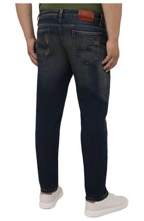 Мужские джинсы CORTIGIANI синего цвета, арт. 213532/S409/0000/3020/60-70   Фото 4 (Big sizes: Big Sizes; Силуэт М (брюки): Прямые; Кросс-КТ: Деним; Длина (брюки, джинсы): Стандартные; Материал внешний: Хлопок; Детали: Потертости; Стили: Кэжуэл)