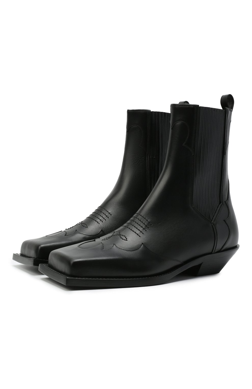 Мужские кожаные казаки BALMAIN черного цвета, арт. WM1TA269/LGDT | Фото 1 (Материал внутренний: Натуральная кожа; Мужское Кросс-КТ: Казаки-обувь, Сапоги-обувь; Подошва: Плоская)