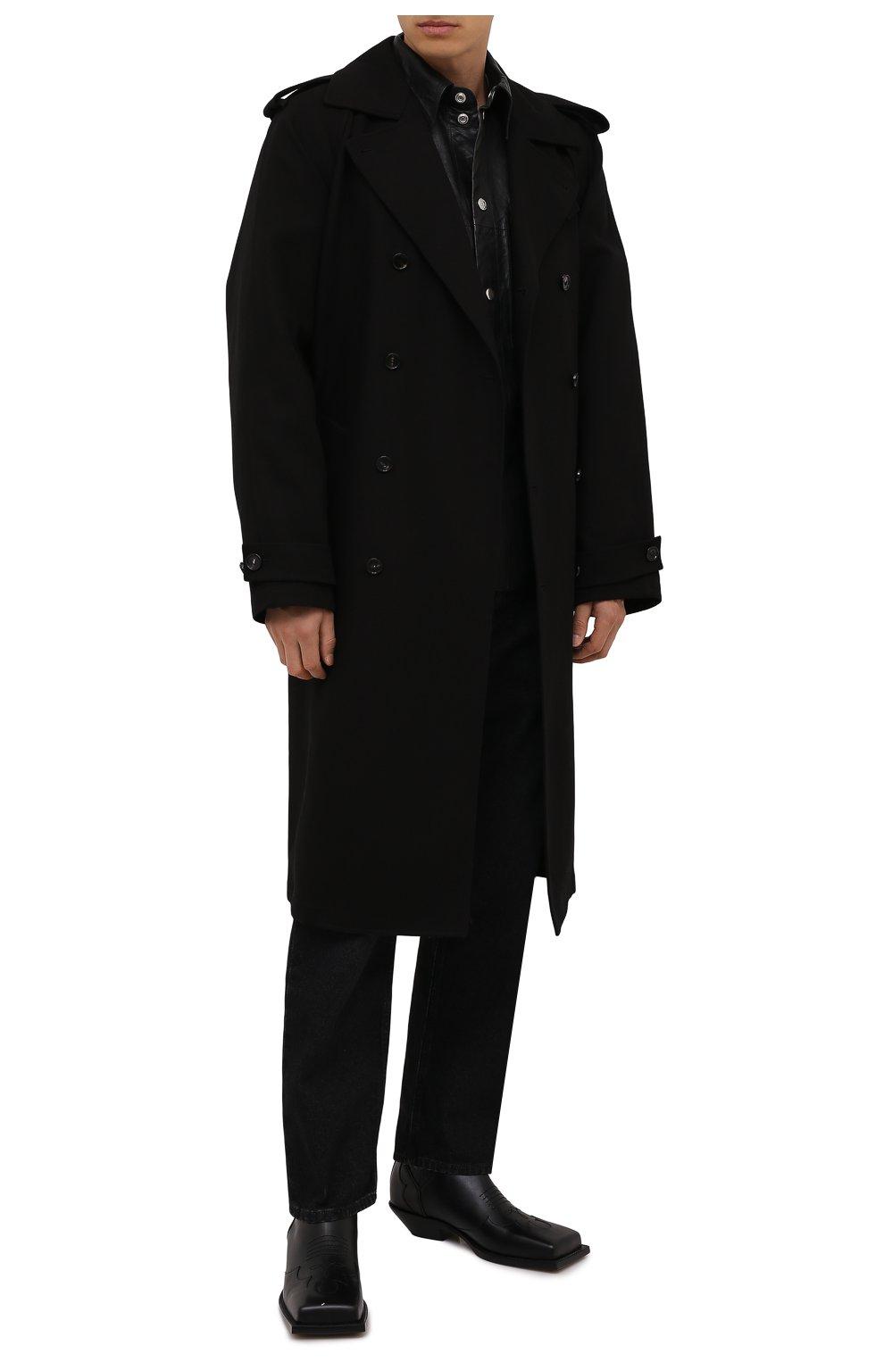 Мужские кожаные казаки BALMAIN черного цвета, арт. WM1TA269/LGDT | Фото 2 (Материал внутренний: Натуральная кожа; Мужское Кросс-КТ: Казаки-обувь, Сапоги-обувь; Подошва: Плоская)