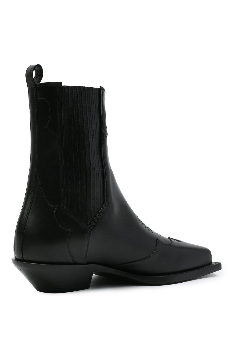 Мужские кожаные казаки BALMAIN черного цвета, арт. WM1TA269/LGDT | Фото 4 (Материал внутренний: Натуральная кожа; Мужское Кросс-КТ: Казаки-обувь, Сапоги-обувь; Подошва: Плоская)