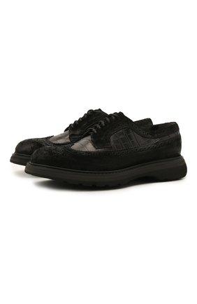 Мужские комбинированные дерби DOUCAL'S черного цвета, арт. DU2523ST0CPT5512N00 | Фото 1 (Материал внутренний: Текстиль; Стили: Классический; Мужское Кросс-КТ: Броги-обувь)