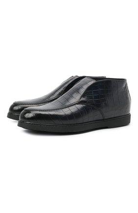 Мужские кожаные ботинки DOUCAL'S темно-синего цвета, арт. DU2654ED0-UM023NB02 | Фото 1 (Материал утеплителя: Натуральный мех; Подошва: Плоская; Мужское Кросс-КТ: Ботинки-обувь, зимние ботинки)