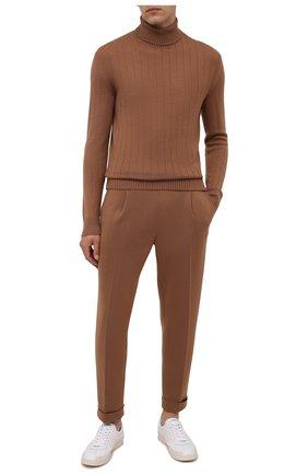 Мужские шерстяные брюки ELEVENTY светло-коричневого цвета, арт. D71PAND01 MAG24012 | Фото 2 (Материал внешний: Шерсть; Длина (брюки, джинсы): Стандартные; Случай: Повседневный; Стили: Кэжуэл; Мужское Кросс-КТ: Брюки-трикотаж)