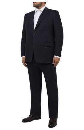 Мужской костюм из шерсти и кашемира CANALI темно-синего цвета, арт. 11280/10/AA03415/60-64   Фото 1 (Материал подклада: Купро; Материал внешний: Шерсть; Рукава: Длинные; Костюмы М: Однобортный; Стили: Классический; Big sizes: Big Sizes)