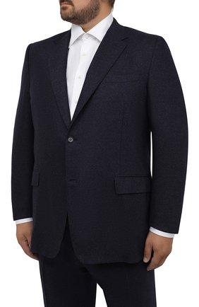 Мужской костюм из шерсти и кашемира CANALI темно-синего цвета, арт. 11280/10/AA03415/60-64   Фото 2 (Материал подклада: Купро; Материал внешний: Шерсть; Рукава: Длинные; Костюмы М: Однобортный; Стили: Классический; Big sizes: Big Sizes)