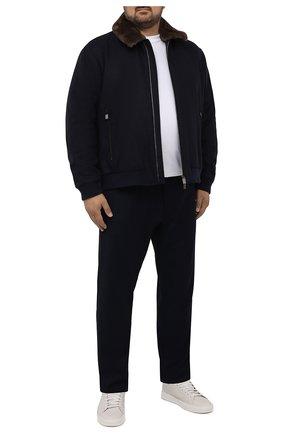 Мужские шерстяные брюки CANALI темно-синего цвета, арт. V1659/AR03472/60-64   Фото 2 (Длина (брюки, джинсы): Стандартные; Материал внешний: Шерсть; Случай: Повседневный; Стили: Кэжуэл; Big sizes: Big Sizes)