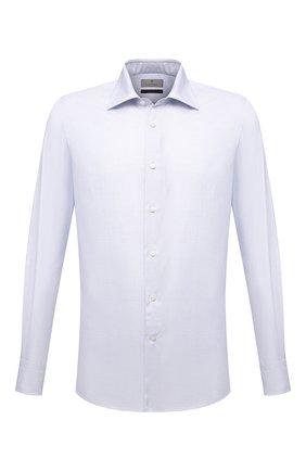 Мужская хлопковая сорочка CANALI голубого цвета, арт. XX05/GX02038 | Фото 1 (Длина (для топов): Стандартные; Рукава: Длинные; Материал внешний: Хлопок; Случай: Формальный; Стили: Классический; Принт: Клетка; Рубашки М: Regular Fit; Манжеты: На пуговицах; Воротник: Акула)