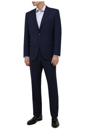 Мужская хлопковая сорочка CANALI голубого цвета, арт. XX05/GX02038 | Фото 2 (Длина (для топов): Стандартные; Рукава: Длинные; Материал внешний: Хлопок; Случай: Формальный; Стили: Классический; Принт: Клетка; Рубашки М: Regular Fit; Манжеты: На пуговицах; Воротник: Акула)