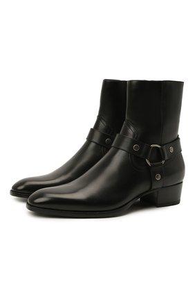 Мужские кожаные сапоги wyatt SAINT LAURENT черного цвета, арт. 634225/1YL00 | Фото 1