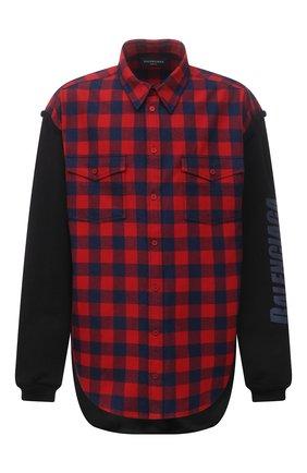 Мужская хлопковая рубашка BALENCIAGA красного цвета, арт. 658936/TBM23 | Фото 1 (Рукава: Длинные; Материал внешний: Хлопок; Материал подклада: Купро; Длина (для топов): Удлиненные; Случай: Повседневный; Принт: Клетка; Стили: Гранж; Манжеты: Без застежки; Воротник: Кент)