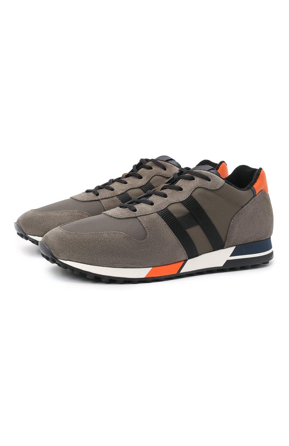 Мужские комбинированные кроссовки HOGAN хаки цвета, арт. HXM3830AN51QDQ   Фото 1 (Материал внешний: Текстиль; Материал внутренний: Натуральная кожа, Текстиль; Подошва: Массивная; Стили: Спорт)