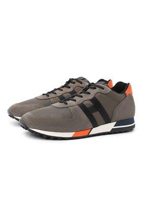 Мужские комбинированные кроссовки HOGAN хаки цвета, арт. HXM3830AN51QDQ | Фото 1