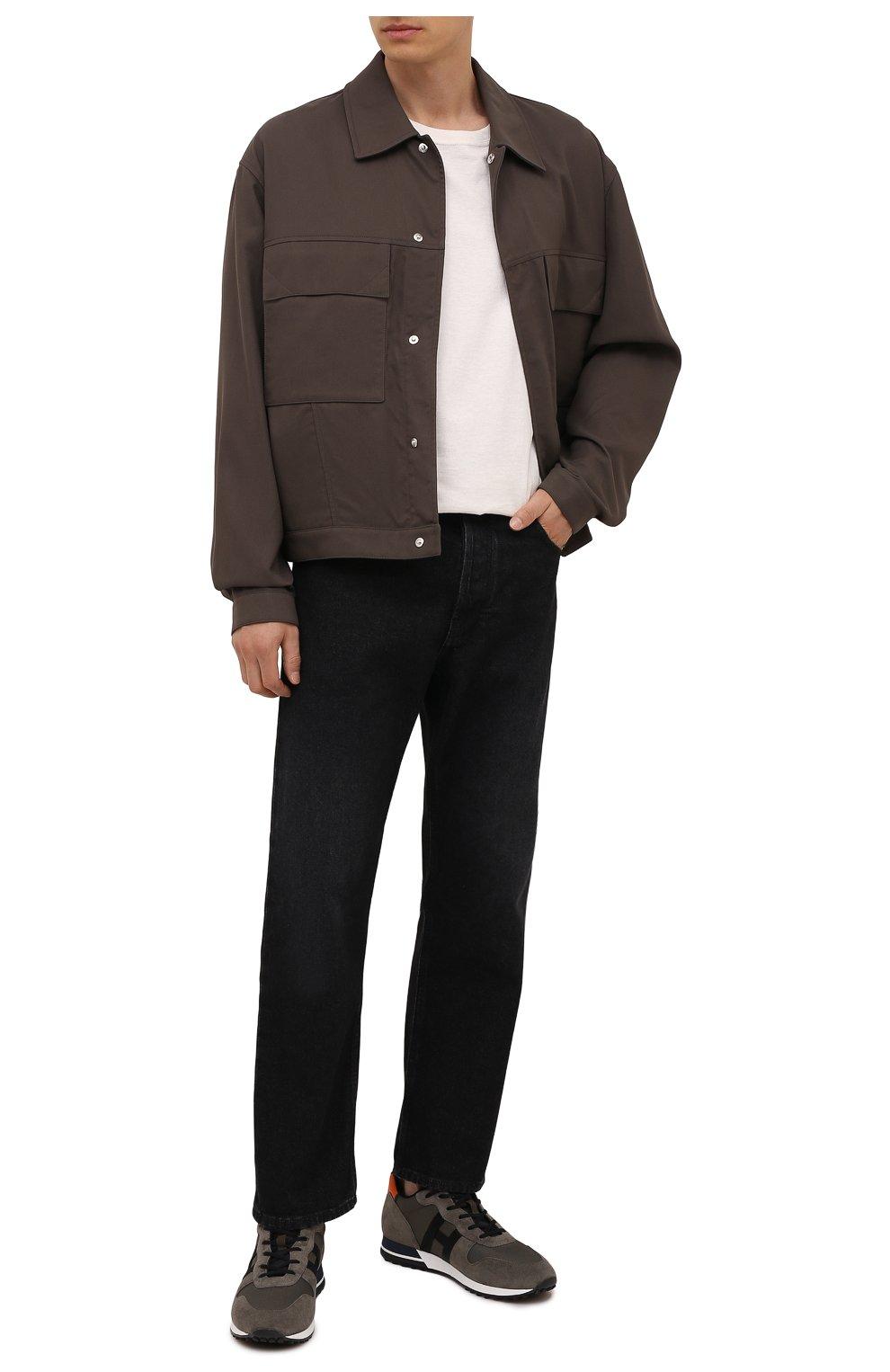 Мужские комбинированные кроссовки HOGAN хаки цвета, арт. HXM3830AN51QDQ   Фото 2 (Материал внешний: Текстиль; Материал внутренний: Натуральная кожа, Текстиль; Подошва: Массивная; Стили: Спорт)