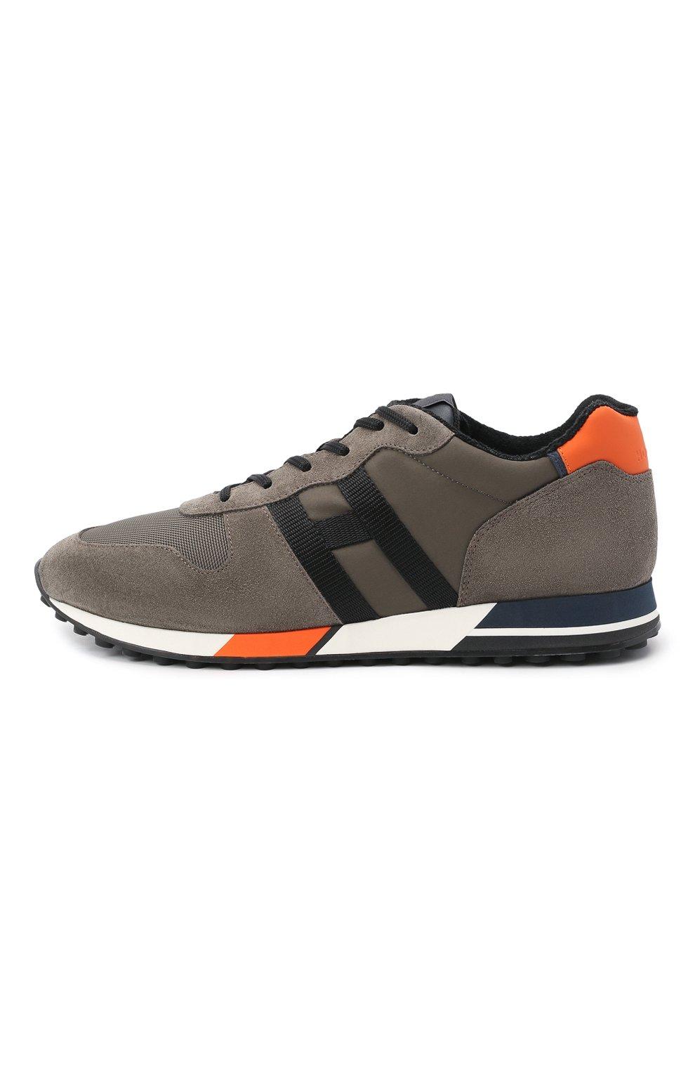 Мужские комбинированные кроссовки HOGAN хаки цвета, арт. HXM3830AN51QDQ   Фото 3 (Материал внешний: Текстиль; Материал внутренний: Натуральная кожа, Текстиль; Подошва: Массивная; Стили: Спорт)