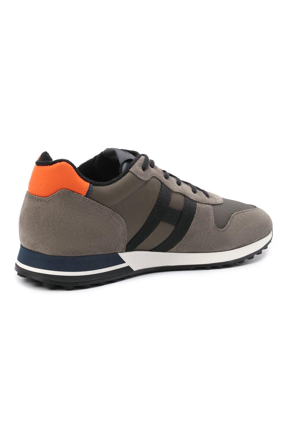 Мужские комбинированные кроссовки HOGAN хаки цвета, арт. HXM3830AN51QDQ   Фото 4 (Материал внешний: Текстиль; Материал внутренний: Натуральная кожа, Текстиль; Подошва: Массивная; Стили: Спорт)