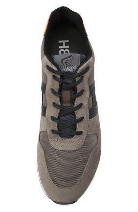 Мужские комбинированные кроссовки HOGAN хаки цвета, арт. HXM3830AN51QDQ   Фото 5 (Материал внешний: Текстиль; Материал внутренний: Натуральная кожа, Текстиль; Подошва: Массивная; Стили: Спорт)
