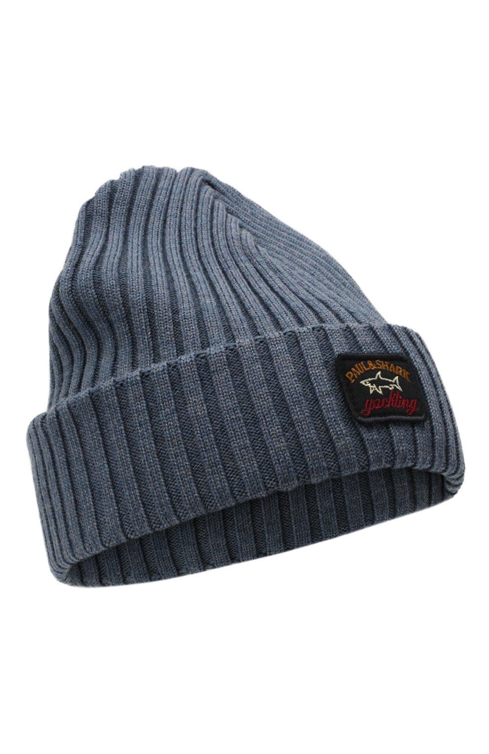 Мужская шерстяная шапка PAUL&SHARK серо-голубого цвета, арт. C0P1051/FLV   Фото 1 (Материал: Шерсть; Кросс-КТ: Трикотаж)