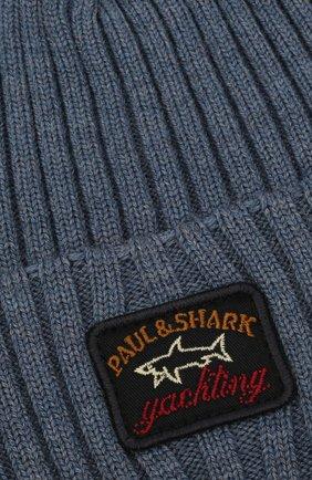 Мужская шерстяная шапка PAUL&SHARK серо-голубого цвета, арт. C0P1051/FLV   Фото 3 (Материал: Шерсть; Кросс-КТ: Трикотаж)