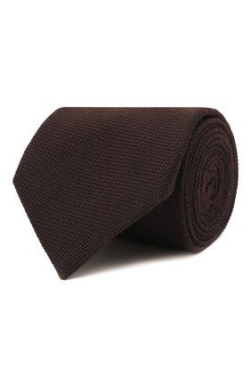 Мужской галстук из шелка и кашемира BRIONI темно-коричневого цвета, арт. 062I00/01414   Фото 1