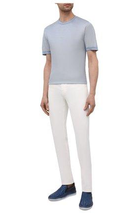 Мужские кожаные слипоны ZILLI темно-синего цвета, арт. MDV-T087/001   Фото 2 (Материал внутренний: Натуральная кожа; Стили: Кэжуэл)