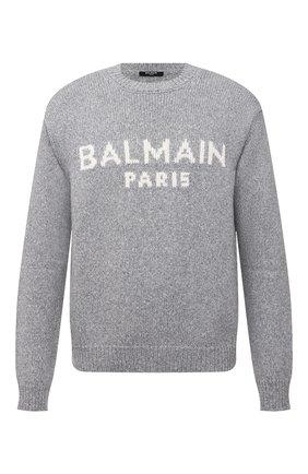 Мужской шерстяной свитер BALMAIN серого цвета, арт. WH1KD000/K027 | Фото 1