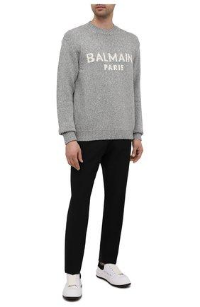 Мужской шерстяной свитер BALMAIN серого цвета, арт. WH1KD000/K027 | Фото 2