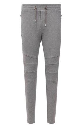 Мужские хлопковые брюки BALMAIN серого цвета, арт. WH10B028/B130   Фото 1