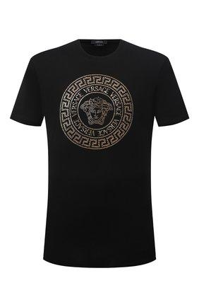 Мужская хлопковая футболка VERSACE черного цвета, арт. 1001619/1A01263 | Фото 1 (Материал внешний: Хлопок; Длина (для топов): Стандартные; Рукава: Короткие; Принт: С принтом; Стили: Гламурный)