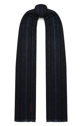 Мужской шарф из шерсти и шелка ERMENEGILDO ZEGNA темно-синего цвета, арт. Z2L07S/26F | Фото 1