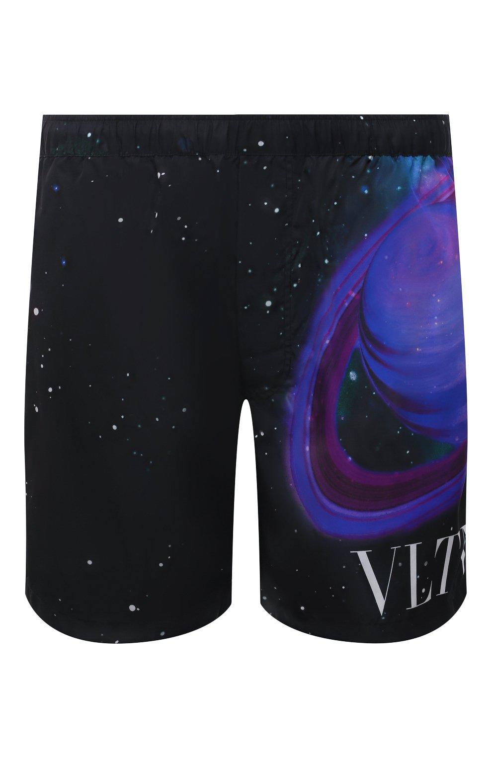 Мужские плавки-шорты VALENTINO черного цвета, арт. WV3UH0287MU | Фото 1 (Материал внешний: Синтетический материал; Принт: С принтом; Мужское Кросс-КТ: плавки-шорты)